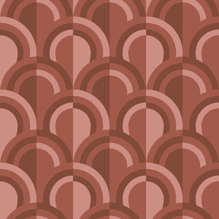 Simple geometric scales pattern in terracotta soil colors. red clay hues repeatable motif for textile, wrapping paper, surface design.