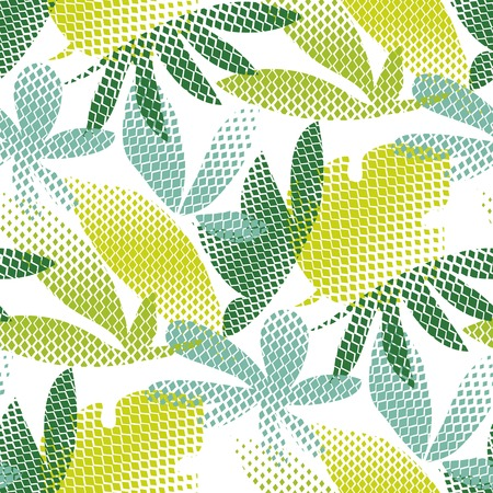 Tropical leaves hand drawn seamless pattern. Abstract rhombus pixel texture. Exotic halftone silhouettes. Natural hawaii plants on white background. Botanic wallpaper, wrapping paper vector color fill