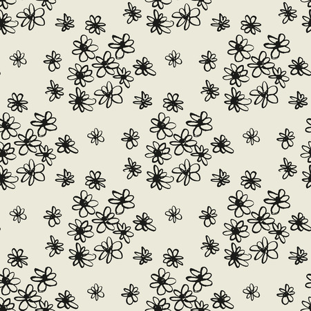 Abstract flowers hand drawn seamless pattern. Daisy ink pen grunge texture. Chamomile blossom sketch drawing. Black doodle camomiles on grey background. Botanic wrapping paper, wallpaper floral design