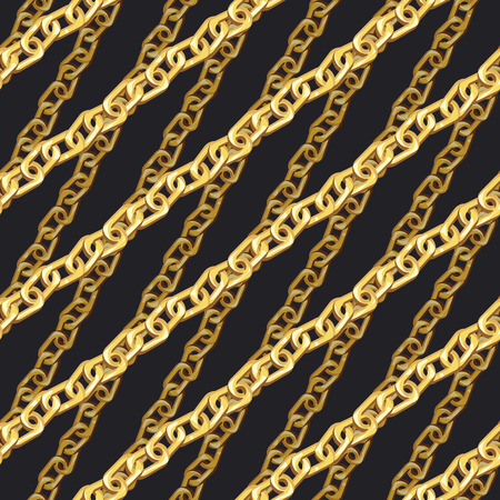 Golden zigzag chain seamless pattern. Gold cartoon jewellery on black background. Flat hand drawn diagonal necklace background.