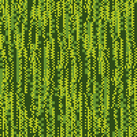 Glitch, matrix flat vector seamless pattern. Chaotic green background. Pixel art style texture. Technical problem, static noise illustration. Geometrical wrapping paper, textile, wallpaper design