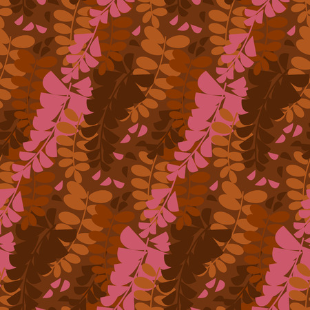 Abstract decorative acacia flower seamless pattern. Pink and brown colors wisteria floral repeatable motif. Natural shapes terracotta hues rapport for fabric, wrapping paper, textile, background.