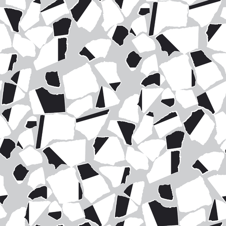 Ripped paper pieces flat vector seamless pattern. Decorative black and white texture. Torn cardboard fragments on grey backdrop. Shredded notepaper. Wrapping paper, textile chaotic design