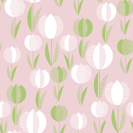 Naive folk style rose color spring flowers seamless pattern. Decorative geometric floral ornament in pale rosy and green colors for textile, background, wrapping paper, cards.
