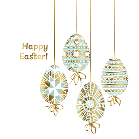 Traditional decorative Easter egg with line ornament in modern pale green teal color. Spring eggs set in folk peasant style for surface design, card, invitation, web and print projects. vector illustration.