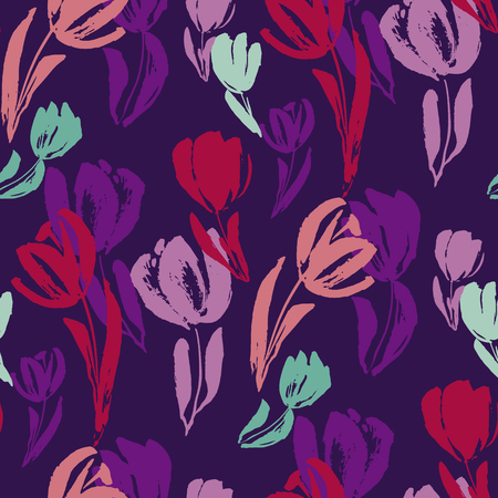 Tropical night colors tulip flower sketch seamless pattern. Freehand decorative hand drawn floral repeatable motif for textile, fabric, surface design, wrapping paper. vector illustration Illustration