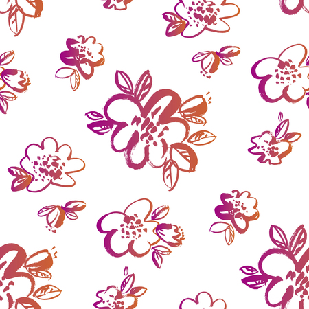 Vintage style hand drawn flowers seamless pattern. Tropical vibes decorative sketch floral repeatable motif for textile, fabric, surface design, wrapping paper.  イラスト・ベクター素材