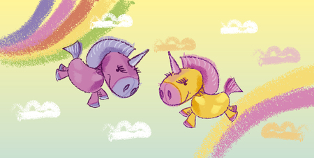 Unicorns hand drawn vector illustration. Magical creatures in sky pencil pastel drawing. Fairy tale banner cartoon background. Ponies and multicolor rainbow child doodle. Horse, cloud freehand sketch