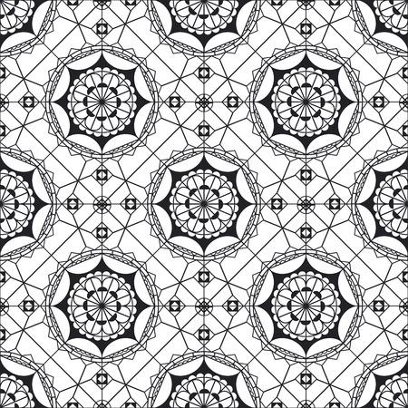 Spanish lace monochrome seamless pattern. Black and white mandala art. Geometric background. Moroccan tile ornament. Vintage abstract backdrop. Half circle, triangle backdrop Illusztráció