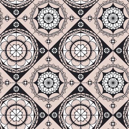 Spanish lace color vector seamless pattern. Pale pink mandala art. Black, white and rose pink arabesque ornament. Arabian style abstract vector backdrop. Geometric oriental background Illusztráció