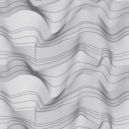 Abstract 3d lines seamless pattern. Waves relief surface. Ripple dynamic monochrome texture. Optical illusion wavy backdrop. Deformation striped background. Wallpaper, wrapping paper vector design