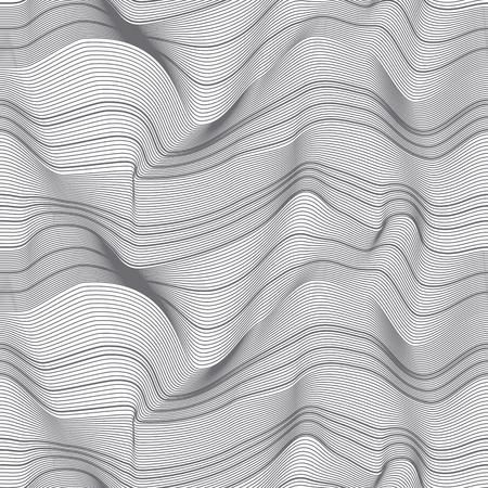 Modèle sans couture de lignes 3d abstraites. Surface en relief des vagues. Texture monochrome dynamique d'ondulation. Toile de fond ondulée illusion d'optique. Fond rayé de déformation. Fond d'écran, conception de vecteur de papier d'emballage Vecteurs