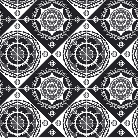 Spanish lace black and white seamless pattern. Monochrome mandala art. Mosaic tile ornament. Arabian style abstract  backdrop. Half circles, diagonal lines geometric background 일러스트