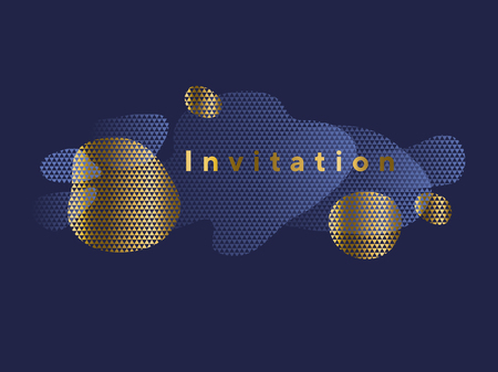 Liquid abstract shapes trendy header in deep blue and gold colors. Luxury elegant motif for web and print surface design. Postcard, invitation, header template with natural forms.