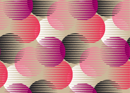 Abstract color round geometry shapes seamless pattern. Ilustração