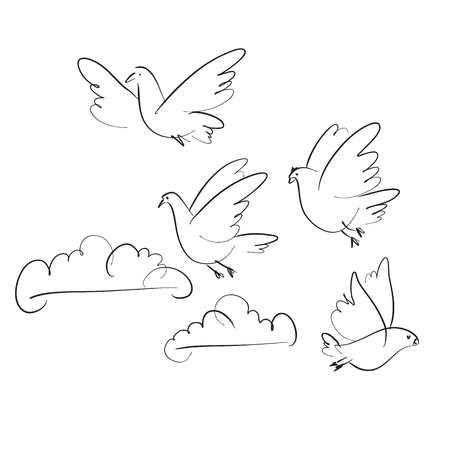 Birds and clouds  hand drawn illustration. Peace symbol. Sketch pigeons flock flying in sky set. Stock Illustratie