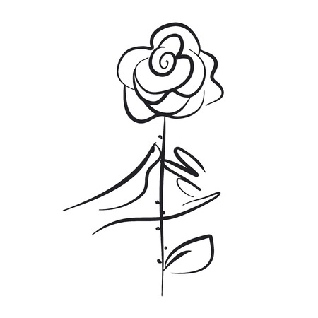 Hand holding rose hand drawn vector illustration. Love symbol freehand sketch. Blooming flower twig monochrome doodle drawing. Valentines Day greeting card outline isolated design element Çizim