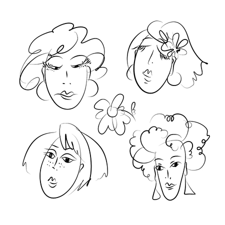 Women hand drawn doodles set. Female vector outline characters pack. Feminine girls heads with curly, straight, short hair sketch. Ladies faces monochrome scribble illustrations collection