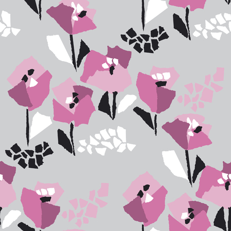 Tulip blossom hand drawn vector seamless pattern. Minimalistic floral flat texture. Poppy inflorescence on grey background. Blossom doodle. Botanical wrapping paper, textile, wallpaper design 일러스트