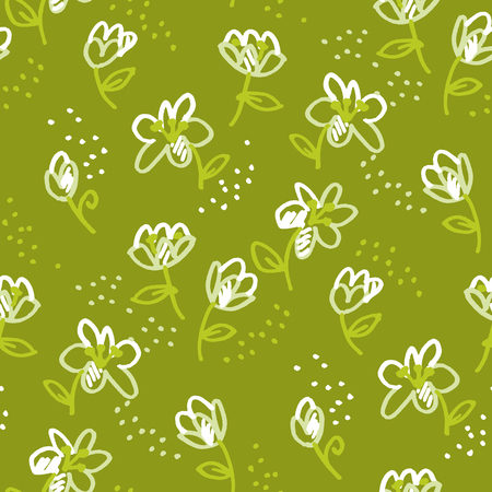 Abstract flowers hand drawn seamless pattern. Tulips doodle marker sketch texture. Liles cartoon felt-tip color drawing. Wildflowers green background. Wrapping paper, wallpaper naive floral design Banque d'images - 124620020