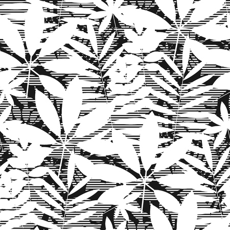 Geometric tropical leaves silhouette seamless pattern. Black and white decorative jungle repeatable motif. Tile element for fabric, wrapping paper, surface design. Banque d'images - 124620023