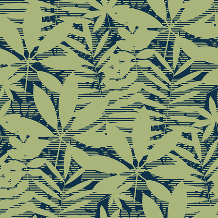 Abstract tropical leaves silhouette seamless pattern. Natural green jungle repeatable motif. Tile decorative element for fabric, wrapping paper, surface design. Banque d'images - 124620024