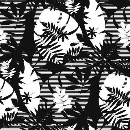 Decorative textured tropical leaves seamless pattern. Black and white foliage silhouette repeatable motif. Tile jungle element for fabric, wrapping paper, surface design. Banque d'images - 124620041