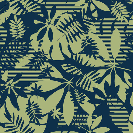 Abstract tropical leaves seamless pattern in nature green. Exotic foliage silhouette repeatable motif. Tile jungle element for fabric, wrapping paper, surface design. Illustration