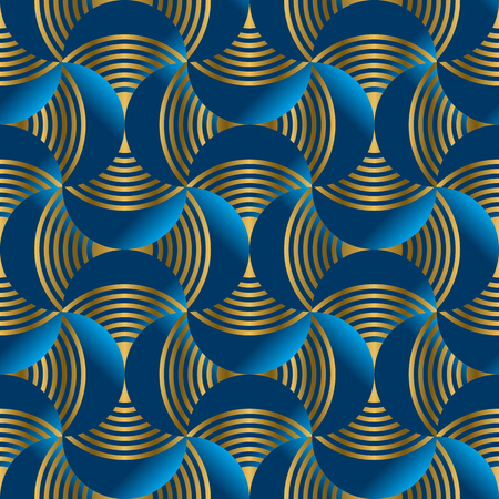 Geometric abstract waves in metal gold and marine blue. Seamless pattern for wrap, paper, packing, surface design, fabric, print, web. Jupan textile inspired tile motif. Vector repeatable element Banque d'images - 124620043