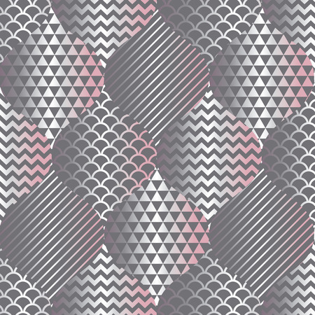 Concept gray pattern in silver and tender pink colors. Seamless motif for wrap, paper, packing, surface design, fabric, print, web. Fresh water and fish skin tile rapport.