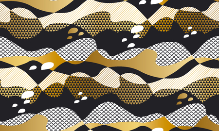 Geometric textured abstract waves in metal gold and black colors. Seamless pattern for wrap, paper, packing, surface design, fabric, print, web. Jupan textile inspired tile motif. Vector repeatable element Ilustrace