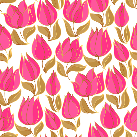 Elegant red and gold tulip seamless pattern. oriental style shapes decorative spring flower repeatable motif. Luxury rapport for wrapping paper, textile, surface design. Banque d'images - 124617390