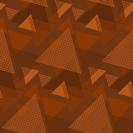 Motif géométrique sans couture de couleur naturelle en terre cuite. Motif à rayures géométriques et triangles reproductibles. Illustration vectorielle pour textile, tissu, conception de surface, tapis. Vecteurs