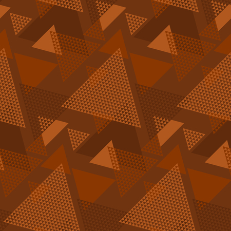 Terra-cotta natural color geometric seamless pattern. Geometry stripe and triangle repeatable motif. Vector illustration for textile, fabric, surface design, carpet. Banque d'images - 124617396