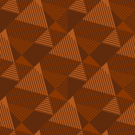 Terra-cotta natural color geometric seamless pattern. Geometry stripe and triangle repeatable motif. Vector illustration for textile, fabric, surface design, carpet. Banque d'images - 124617400