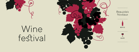 Laconic grape silhouette with leaves for lables, header, banner. Decorative red grape synbol. vector illustration for wine packing project, vinery menu, restaurant wine card. 일러스트