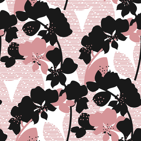Exotic pink orchid flower silhouette seamless pattern. Endless motif for textile, fabric, wrap, web and print design. textured background with floral ornament. Banque d'images - 124617407