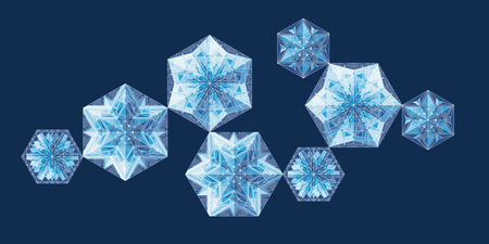 Geometrical snowflakes vector illustrations set. Ice, frost on blue background. Abstract Christmas tree baubles cliparts pack. Winter backdrop. Crystal snow, frozen stars with white lines ornament Banque d'images - 124620035