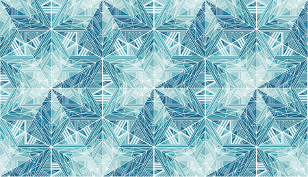 Abstract frozen stars, snowflakes vector seamless pattern. Light blue ice, frost winter backdrop. Mosaic, kaleidoscope. Triangles and lines ornament. Geometric shapes, polygonal crystal snow Banque d'images - 124620045