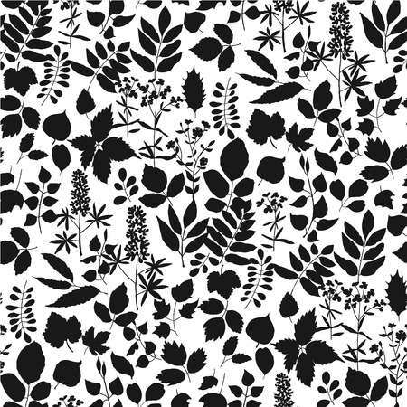 Europe forest leaves simple seamless pattern in black and white. One-color repeatable floral motif for wrapping paper, fabric, background, wallpaper. Banque d'images - 124620046