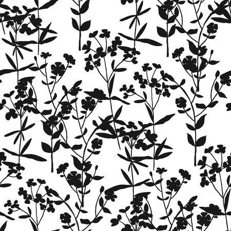 Black and white meadow blossom grass seamless pattern. Simple elegant thin repeatable motif. Tile endless rapport for textile, surface design, web and wrap.