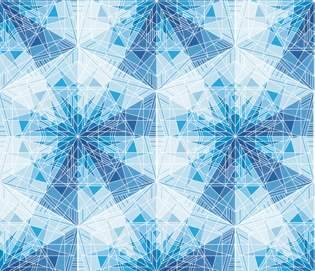 Geometrical snowflakes, mosaic seamless pattern. Blue ice, frost backdrop. Kaleidoscope wallpaper. Triangles and lines ornament. Polygonal crystal snow vector background. Symmetrical frozen stars