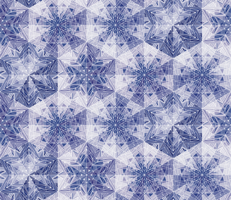 Geometrical snowflakes kaleidoscope seamless pattern. Abstract frozen stars, flowers. Ice, frost backdrop. Mosaic wallpaper. Triangles and lines ornament. Polygonal crystal snow vector background Banque d'images - 124620050