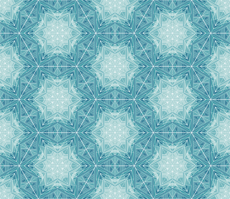 Abstract mosaic, kaleidoscope vector seamless pattern. Ice, frost backdrop. Snowflakes, frozen stars, flowers wallpaper. Geometrical shapes and lines ornament. Polygonal crystal snow background Banque d'images - 124620051