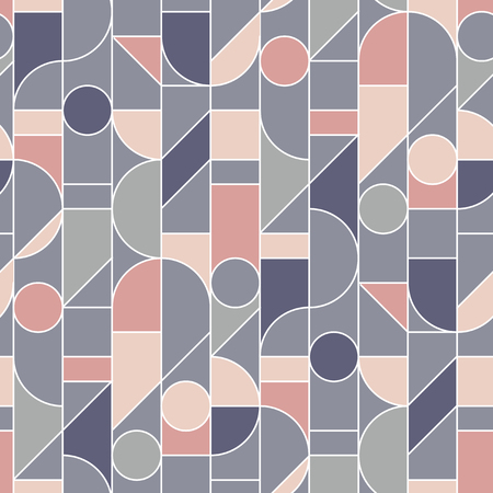 Elegant retro style rose and gray seamless pattern with white outlines. Vintage 70s style repeatable motif for fabric, background, surface design, textile. Tile rapport vector ilustration Ilustração