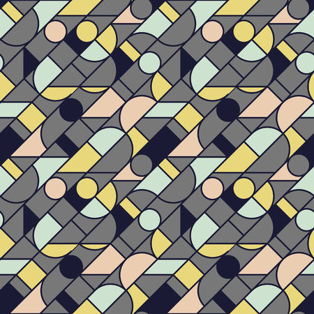 Concept vintage colors geometric outline shapes seamless pattern. Retro 70s vibes repeatable motif for fabric, background, surface design, textile. Tile rapport vector illustration Banque d'images - 124620065