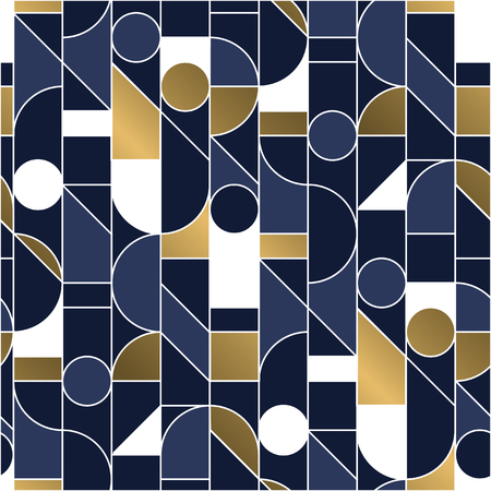 Luxury masculine marine blue and gold geometric outline shapes seamless pattern. Retro line geometry 70s chic repeatable motif for fabric, background, surface design, textile. Tile rapport vector Banque d'images - 124620056