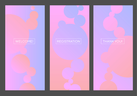 Tender rosy and lilac violet abstract bubbles patern. Pastel elegant fresh RGB gradient banner for screen, surface design, background. Abstract vector illustration for web, ui, ux, social media. Banque d'images - 124617483