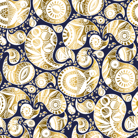 Elegant modern luxury paisley seamless pattern for wedding decor, surface pattern, web and print design projects. Boho style hand drawn traditional floral pattern. Doodle vector illustration. Banque d'images - 124617485