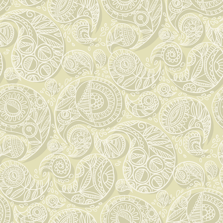 Hand drawn naive paisley seamless pattern for wedding decor, surface pattern, web and print design projects. Boho style hand drawn traditional floral pattern for textile, wrapping paper, background.